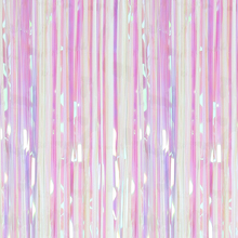 Iridescent 3ft x 8ft Metallic Foil Fringe Curtains for Birthday Rainbow Party Decoration Marriage Wedding Stage Backdrop