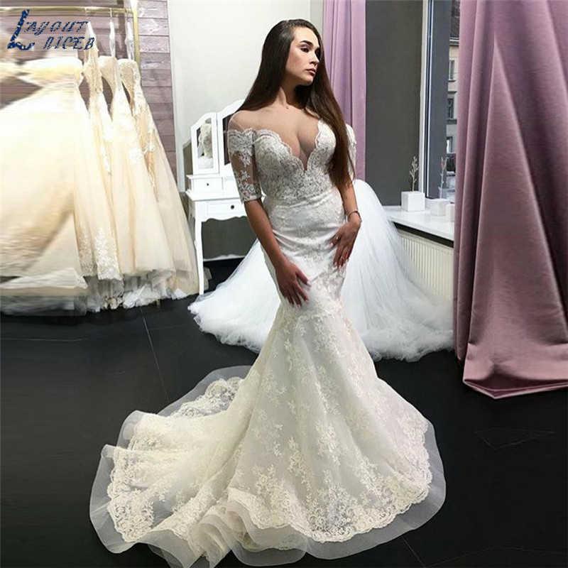 SHJ916 Casamento Vestido 2019 Meia Manga Lace Sereia vestidos de casamento robe de mariee vestido de noiva vestido longo vestidos de festa