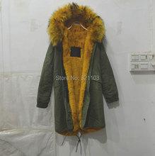 Large raccoon fur collar hooded coat army green long jacket woman Mr outwear, 2016 fashion Mrs furs parka
