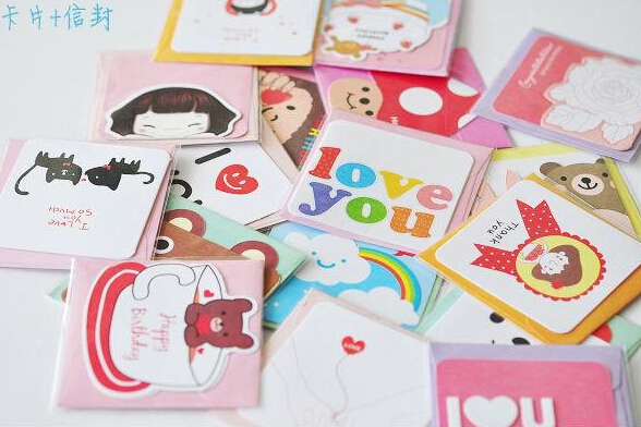 5002 90pcs/pack 82x82mm Korean Fashion Greeting Cards Mixed Craft Paper Word Message Cards Kids Gift