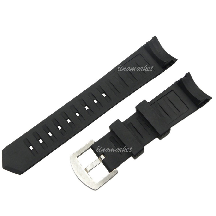 New Black Diver Silicone Rubber Curved end 22mm Watch Band Strap with pin buckle black silicone rubber watchband curved end for special watches sport style watch strap 22mm for replacement bracelets promotion