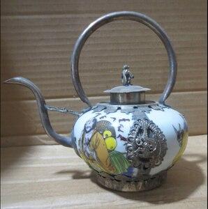 Artesanía de Metal coleccionable decorar a mano porcelana olla, Tibet plata pintura 8 Dios tetera