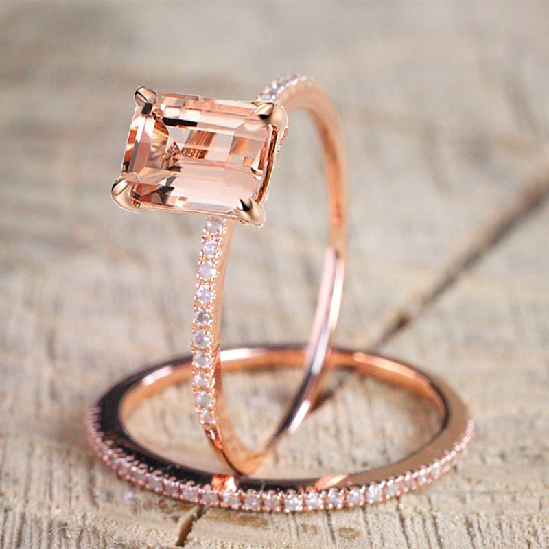 2Pcs Ring/Set Rose Gold Filled White Crystal Zircon Wedding Engagement Ring Size 6-10(China)