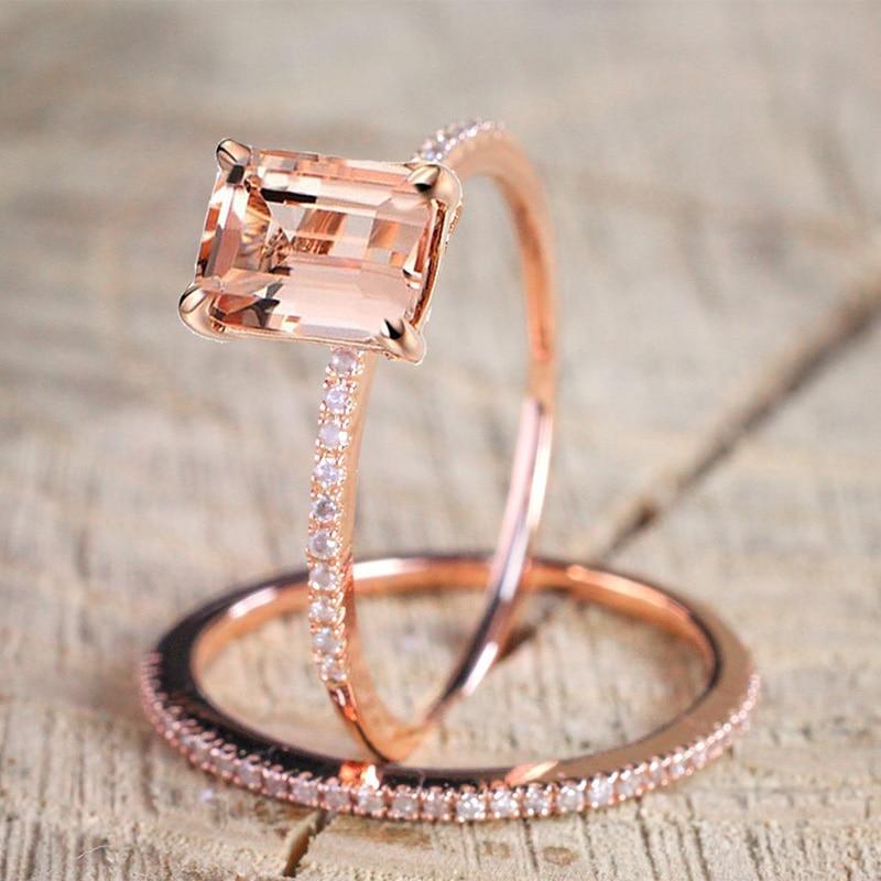 2 pièces bague/ensemble or Rose rempli de cristal blanc Zircon bague de fiançailles de mariage taille 6-10