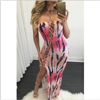 Europese hot model schede sexy dress haltertruitje zomer casual dress fashion print jurken vestidos 7354