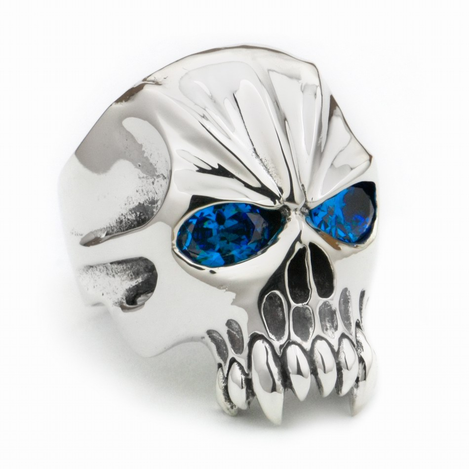 LINSION Huge Heavy 925 Sterling Silver Blue CZ Eyes Skull Mens Biker Rocker Punk Ring 9M204 US Size 7~15LINSION Huge Heavy 925 Sterling Silver Blue CZ Eyes Skull Mens Biker Rocker Punk Ring 9M204 US Size 7~15