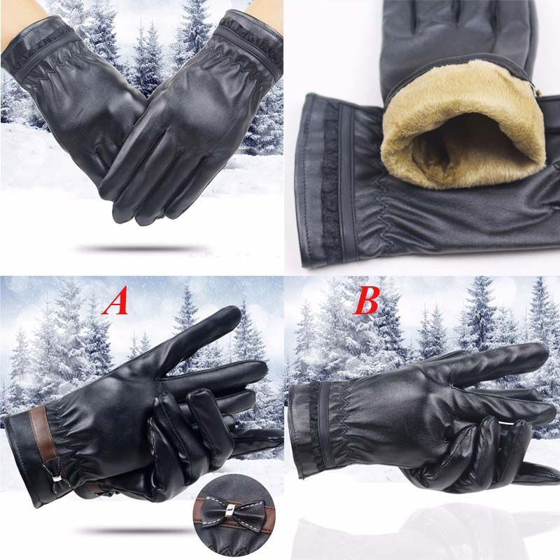 Fashion Women Lady Winter Keep Warm Leather Driving Soft Lining Gloves Mitten Comfortable Gloves L50/1226(China)
