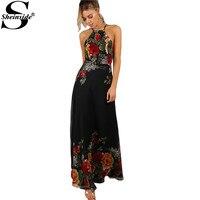 Sheinside Halter Maxi Summer Dress Women Black Floral Vintage Sexy Open Back Beach Dresses 2017 New