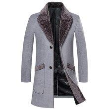 Новое поступление зимние мужские длинные шерстяные пальто с меховым воротником теплые шерстяные пальто мужские однотонные тонкие повседневные ветровки 5XL