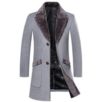 New Arrival Winter Men's Long Woolen Coat Fur Collar Warm Woolen Coats Male Solid Color Slim Casual Windbreaker Jacket 5XL