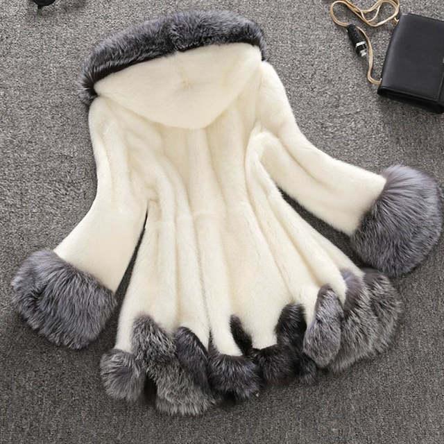 d2b1b2fcdb8 placeholder faux fur coat women white gray with fur hat fur jacket mink  luxury women long coat