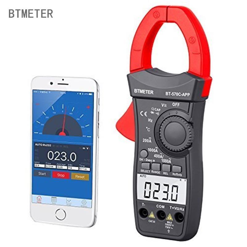 Multímetro de la abrazadera de BT-570C-APP BTMETER Auto de la gama AC/DC medidor de pinza 4000 cuenta resistencia de Hz ciclo de temperatura