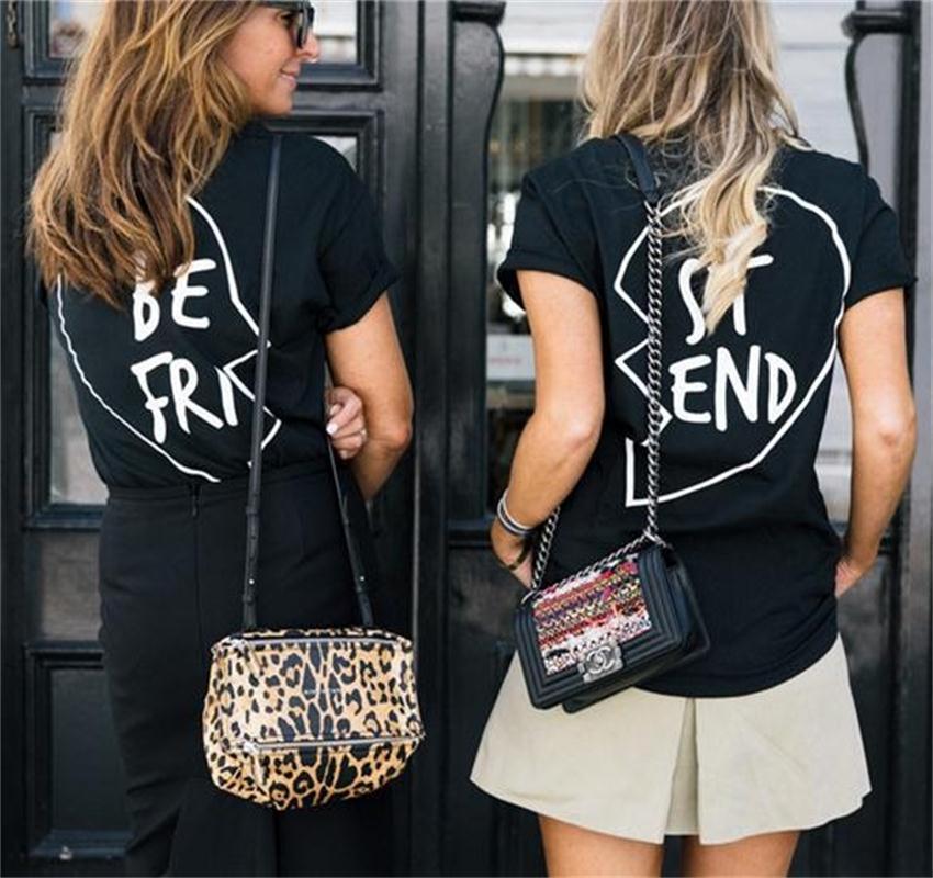 871a6b4aa 2018 Harajuku Cotton Best Friends Matching T shirts Fashion Bff T Shirt  Girls Women Sisters Tops Tee Shirt Femme Camisetas Mujer-in T-Shirts from  Women s ...