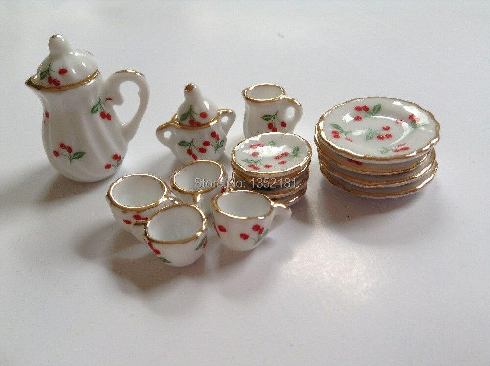 Miniature Doll House China Tea set oriental teapot teacups serving platter