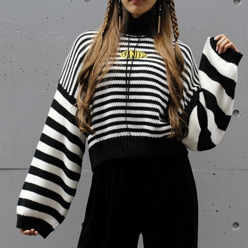 2019 Streetwear UNIF Sweater Women Harajuku Long Sleeve Striped Pullovers Female Knitted Sweaters Women Embroidery Girls Sweater la palmyre zoo