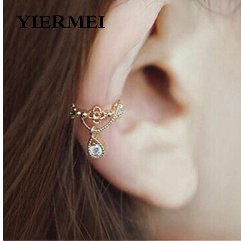 Punk Ear Cuff Wrap Earrings No Piercing Fashion Vintage Jewelry Rhinestone Water Drop Ears Cuffs  Earrings For Women