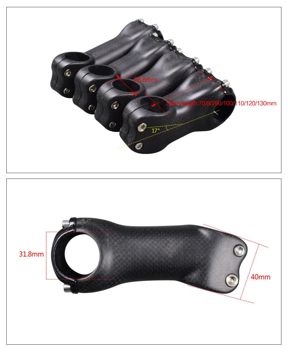 Vollcarbon Fahrrad Vorbau MTB Rennrad Stand  Vorbauten 31,8mm 70-130mm