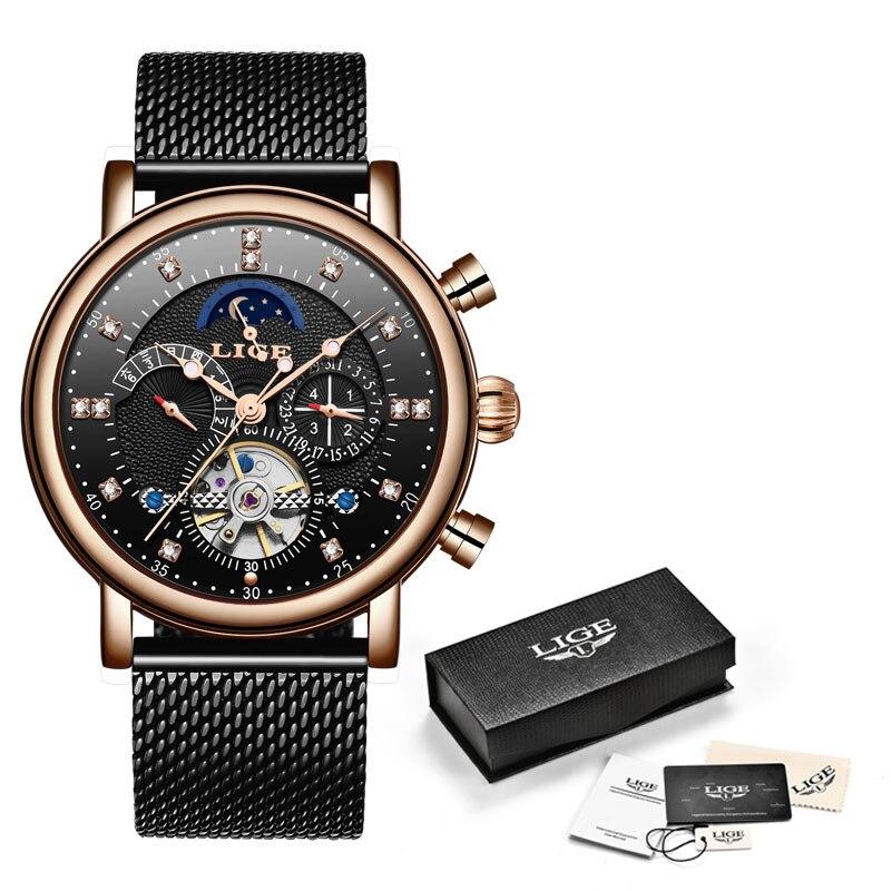 LIGE Gift Mens Watches Brand Luxury Fashion Tourbillon Automatic Mechanical Watch Men Stainless Steel watch Relogio Masculino