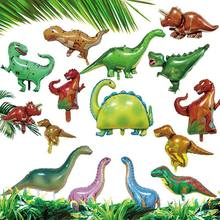 Party green dinosaur Foil Balloon Birthday party decoration Kids Toy Inflate helium Ballon animal zoo theme decorate ball(China)