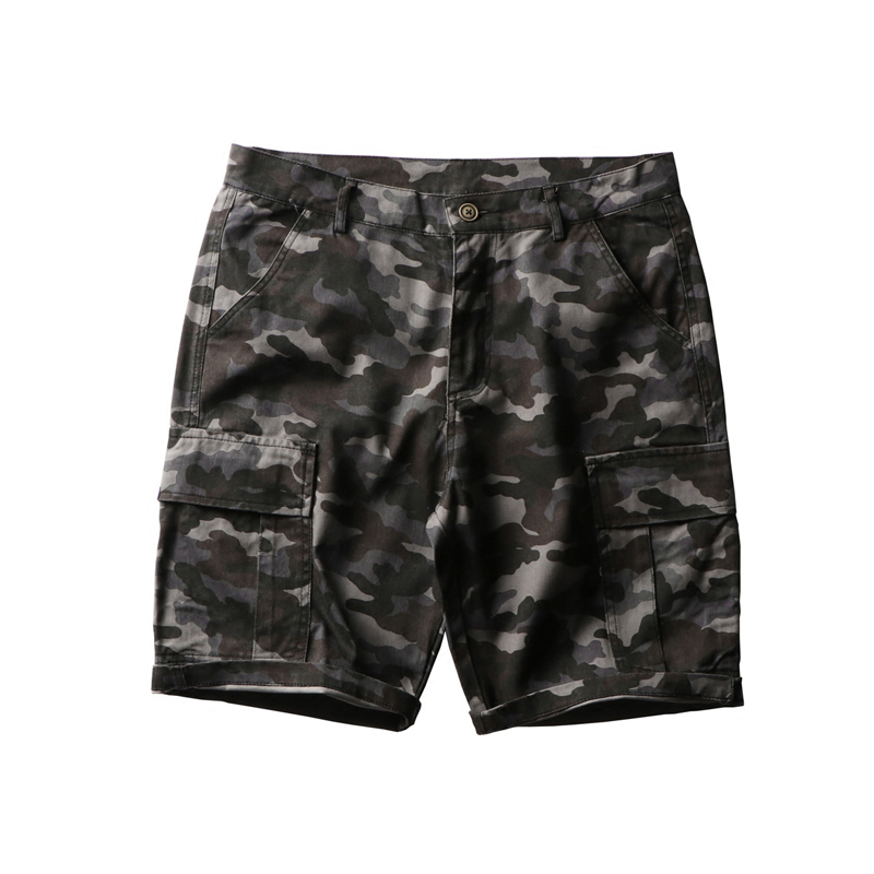 Shorts Men Elastic-Waist Camouflage Summer Cotton Casual Male Youth Washed Loose Leisure