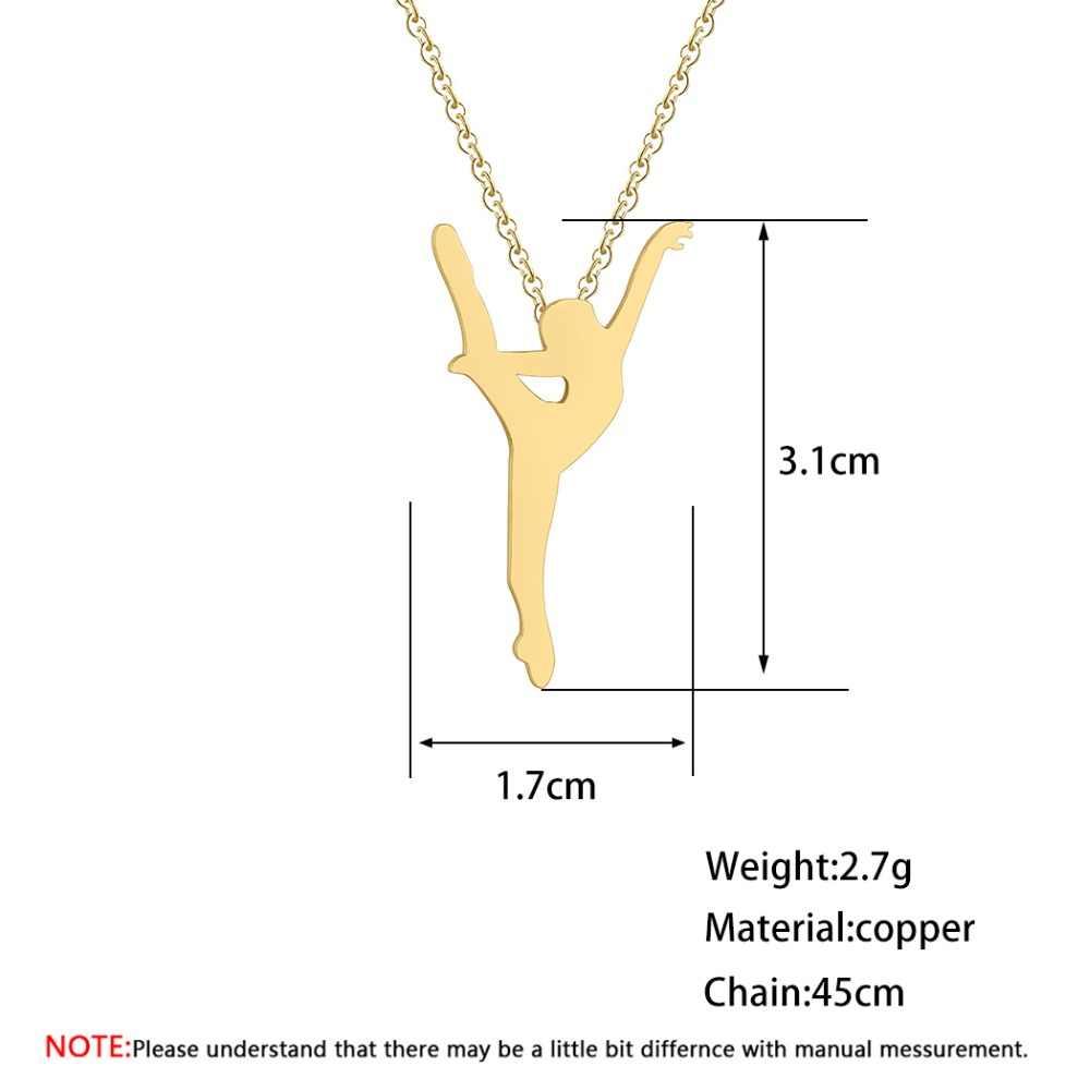 BoHo Kalung Wanita Perhiasan Stainless Steel Serigala Phoenix Yoga Balet Olahraga Emas Rantai Kalung Liontin Gadis Hadiah
