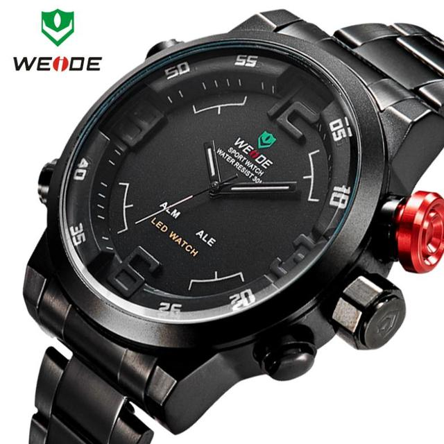f3736fb22c0 WEIDE 2014 Men Sport Watches Military Relogio Masculino LED Digital Analog  Men Full Steel Quartz Watch Luxury Brand Wristwatches