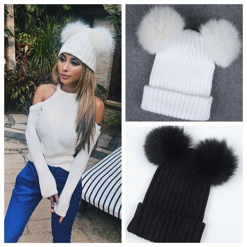Women Double Pom Pom Beanie Hat Autumn Winter Warm Cute Beanie Hat knitted Beanie  Hats Black e259c56082