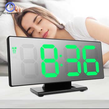 LED Mirror Digital Alarm Clock Multifunction Electronic Desktop Clock Snooze Night Display Electronic Desk Clocks Despertador - Category 🛒 Home & Garden