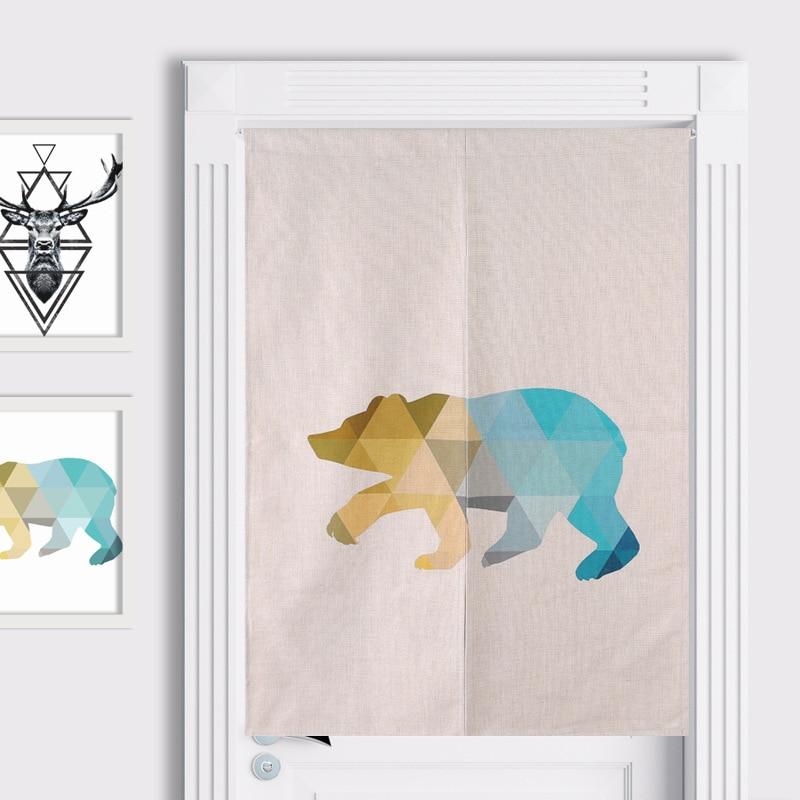 New Linen NOREN Japanese Style Door Curtain Deer Pole Bear Zebra Printed Tapestry 85x120cm/85x90cm zwbra shower curtain
