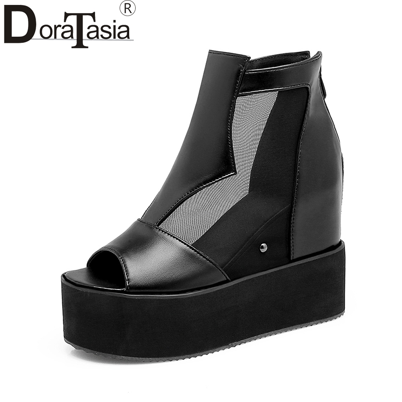 DoraTasia Large Sizes 32-43 peep toe Zip up platform women shoes woman fashion white black summer high heels sandals woman