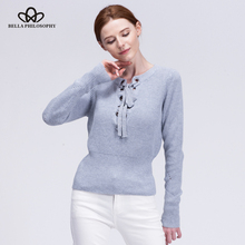 Bella Philosophy 2018 women autumn winter lace-up hollow out long sleeve pull over knitting sweater