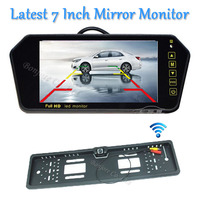 Parking Wireless 7 LCD TFT car Mirror Monitor DVD/VCD/GPS/TV Display Touch button Car Europe License Plate Frame Rearview Camera