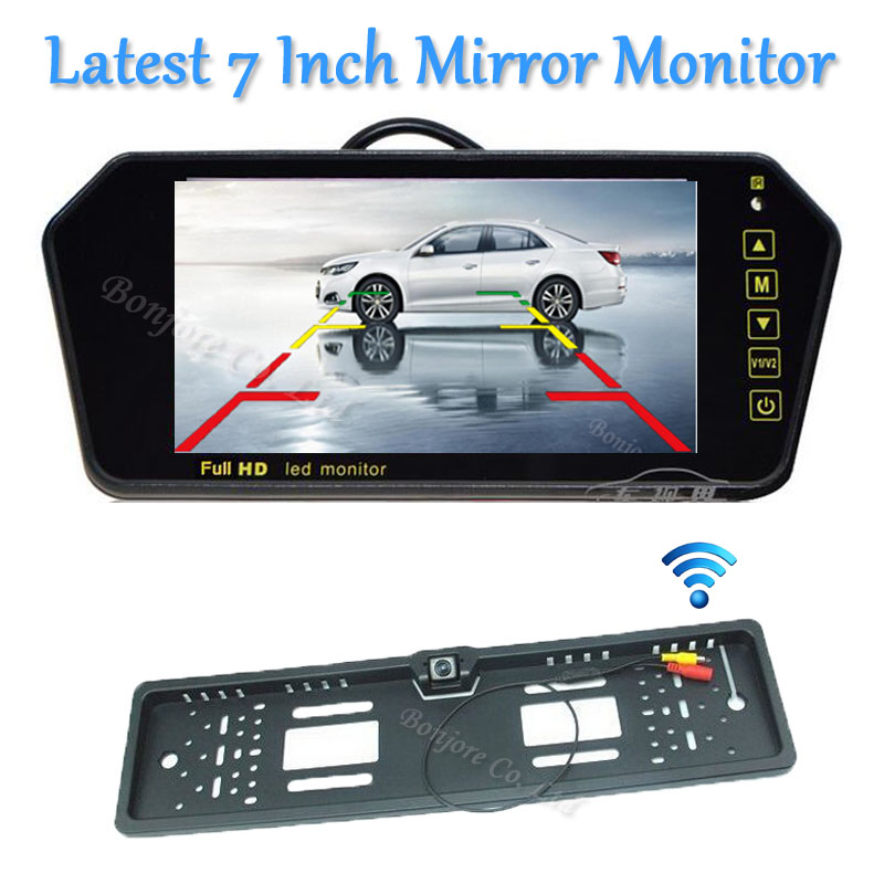 Parking Wireless 7 LCD TFT car Mirror Monitor DVD/VCD/GPS/TV Display Touch button Car Europe License Plate Frame Rearview Camera 2017 car parking sensors kit car led europe license plate frame rearview camera 4 3 car tft monitor speaker parking assistance
