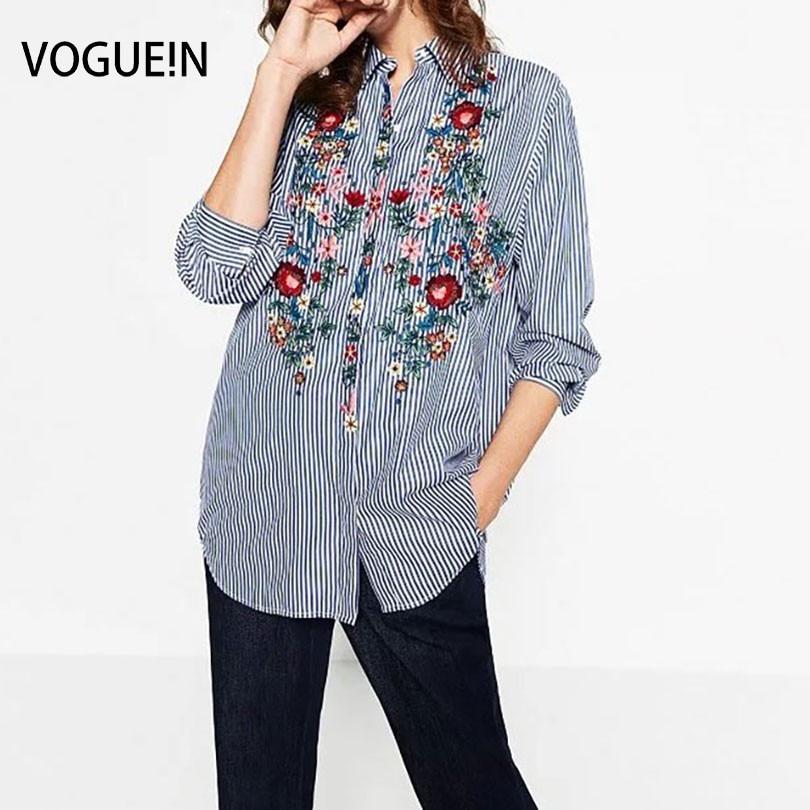 1f7b93d0f7 Vogue! n mujeres nuevas señoras rayas impresión floral bordado manga larga  camisa blusa Tops tamaño SML
