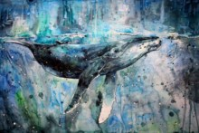 Home Decoration whales artwork watercolor paint splatter animals silk canvas poster print (Accept customization )DW13