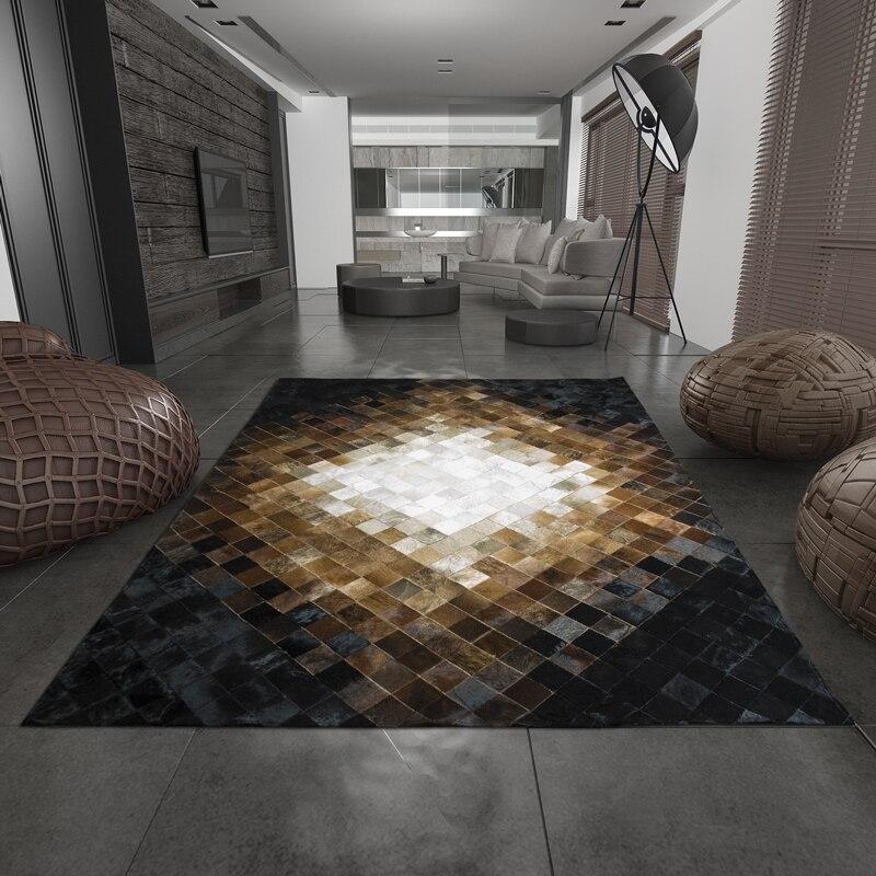 Salon américain chambre chevet cheval cheveux tapis en cuir table basse canapé simple en cuir tapis