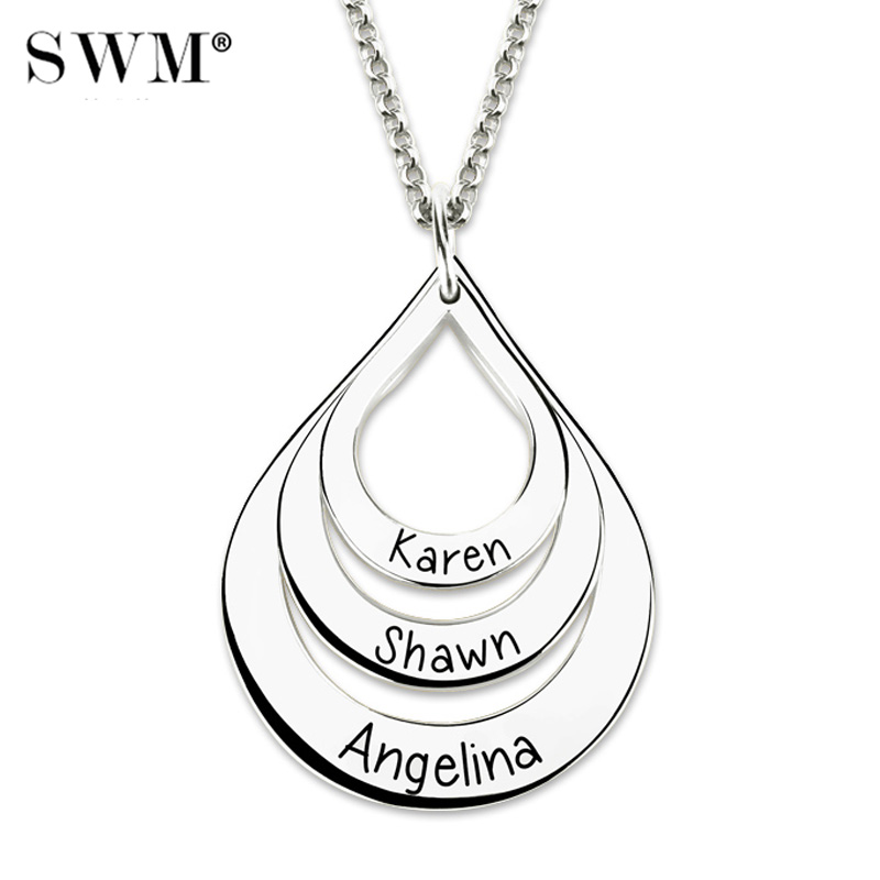 Women Custom Name Engraving Necklace Costume Letter Necklaces Water Drop Shaped Chain Droplet Pendant Rose Gold Gift for Mother-in Pendant Necklaces from Jewelry & Accessories    3