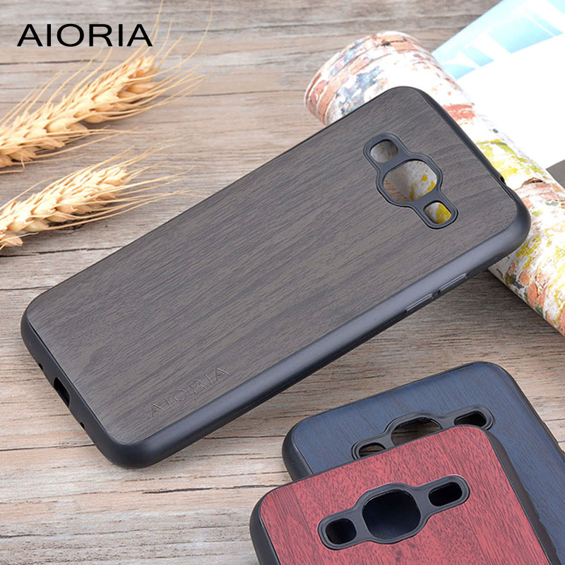 Galleria fotografica Wooden design case for Samsung Galaxy J3 2016 soft TPU silicone material & wood PU leather skin covers coque fundas J5 2016