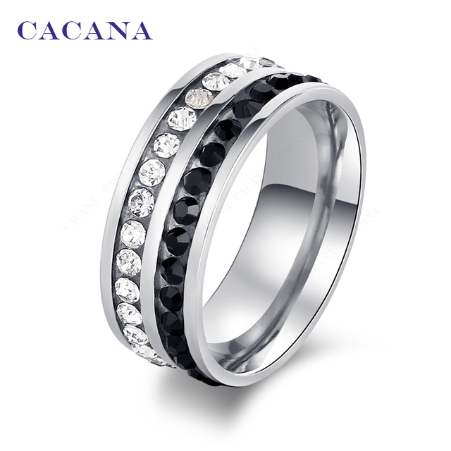 CACANA Titanium Stainless Steel Rings For Women Double Row Color CZ Fashion Jewe