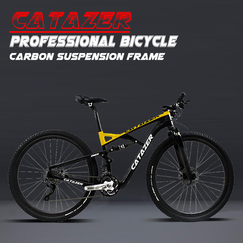 HTB1ECGXacnrK1RkHFrdq6xCoFXag - CATAZER Carbon Mountain Bike 29 Wheelset Suspension Frame 20/30 Speeds Profession Disc Brake MTB Bicycle With SHIMAN0 M8000