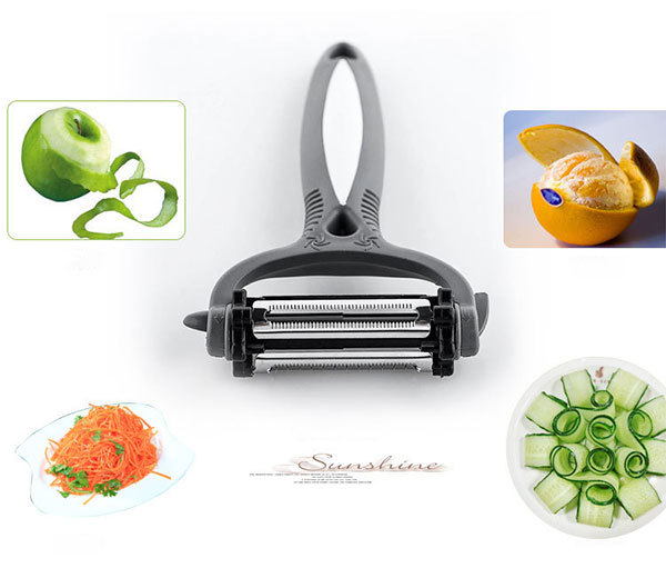 3-In-1 Multifunctional 360 Degree Rotary Potato Peeler Vegetable Cutter Grater Kitchen Gadgets with 3 Blades
