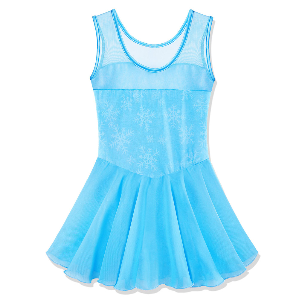 BAOHULU Teen Girls Leotard Cotton Tulle Ballet Dress Kids Snowflake Tutu Ballet Dance Wear Child Ballerina Costume Blue Pink