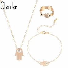 Chandler New Opal Fatima Hamsa Hand Pendant Necklaces & Bracelet & Rings With Clear Crystal For Women Trendy Wedding Jewelry Set