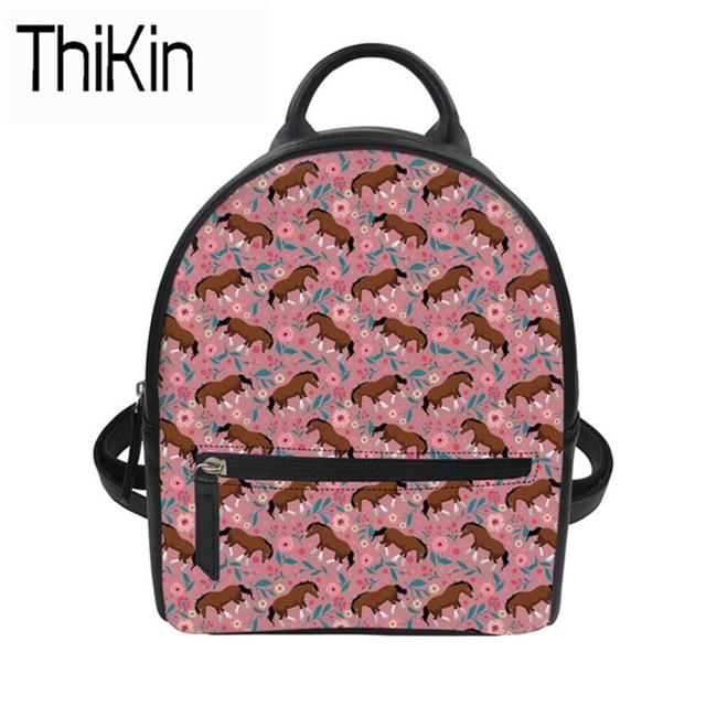 83beccaea9 THIKIN Backpack Female Cartoon Pink Horse Printing PU Leather Backapack For  Girls Book Bagpack Mini Travel