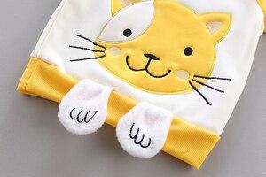 Image 4 - 3 sztuk dziecko dzieci odzież zimowa zestaw słodki kociak noworodka gruba ciepła bawełna ocieplane ubrania dla chłopców dziewcząt kamizelka z kapturem + topy + spodnie