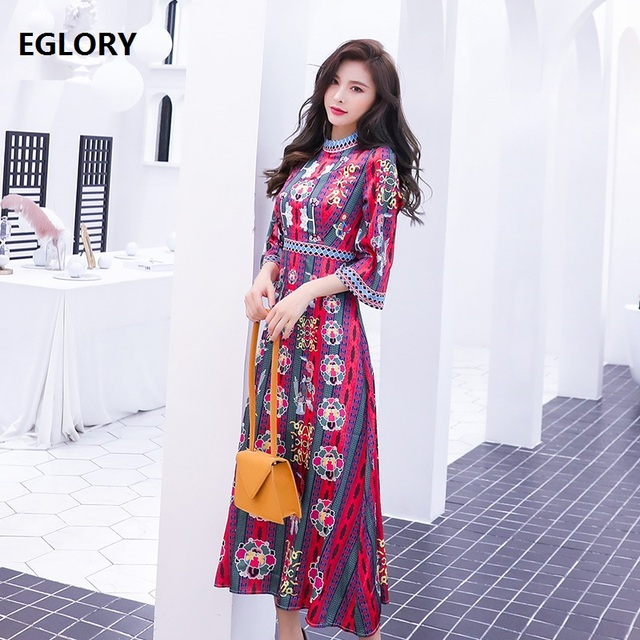 2019 Spring Fashion Long Dress High Quality Women Stand Neck Vintage Print 3/4 Sleeve Ankle Length Long Party Club Dress Vestido
