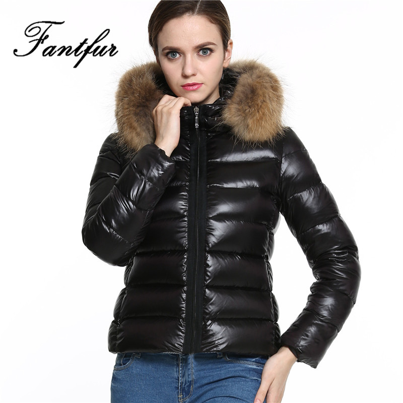 2017 New Women Winter Black Down Jacket Coats Thick Fur Parkas Large Raccoon Faux Fur Collar Hooded Outwear Plus Size S-3XL inc new beige women s size small s faux leather knit motorcycle jacket $99