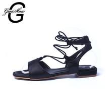 GENSHUO New Summer Shoes Woman Sandals 2016 Cross Strapy Black Ladies Flat Sandals Sandalias Mujer Feminina Salto