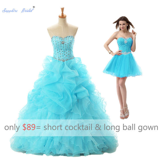 Us 7634 18 Offsapphire Bridal 2019 2 In 1 Long Party Gowns Vestido De 15 Anos De Beadesturquoise Quinceanera Dress With Detachable Long Skirt In
