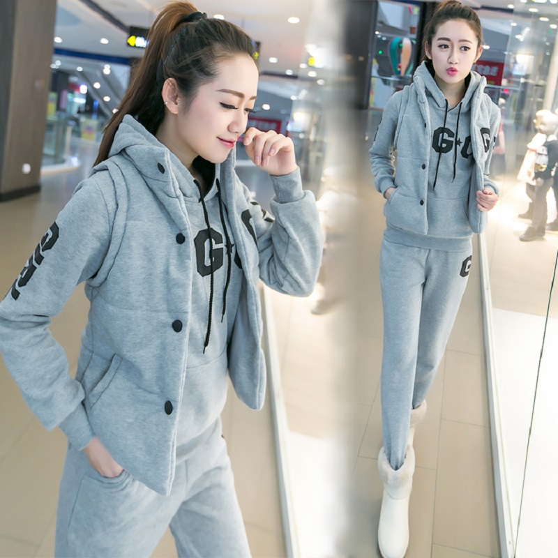 New Fashion 2019 Autumn and winter women suit women's tracksuits casual set with a hood fleece sweatshirt three pieces set